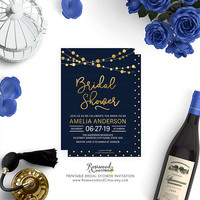 Elegant Bridal Shower Invitation, Printable Bridal Shower Card, Blue Bridal Shower Party, Modern Bridal Shower Invite, Strings of Lights