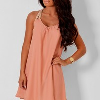 Charmeine Peach and Gold Swing Dress | Pink Boutique