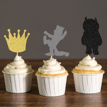 Where the Wild Things Are Cupcake Toppers,Wild One Crown Food Picks,Tribal  Party Decorations Kids Birthday Cake Accessory