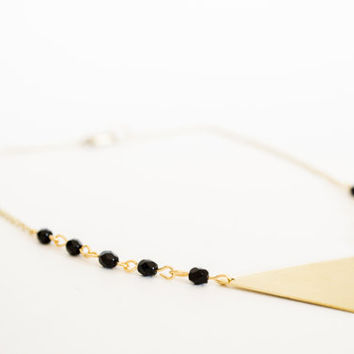 Raw Brass Triangle Pendant Earrings - Black Glass Czech Beads