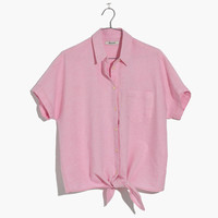 Short-Sleeve Tie-Front Top in Paris Pink : shopmadewell button-up & popover shirts | Madewell