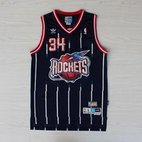 Hakeem Olajuwon BLUE 34 Houston Rockets Throwback Swingman Jersey Basketball