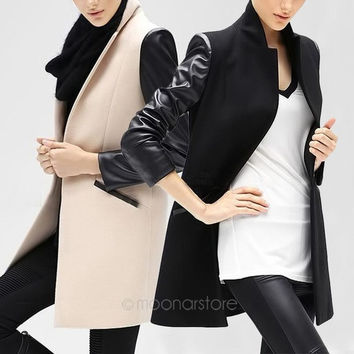 Fashion Women's Trench Slim Winter Warm Coat Long Wool Jacket Outwear Parka = 1930052164