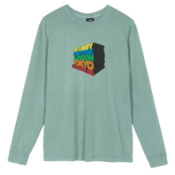 Stacked Up L/S Tee in Sage