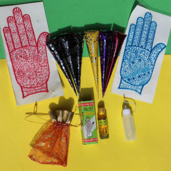 Henna beginner kit henna henna oil + applicator brown black henna paste natural henna Body art temporary tattoo