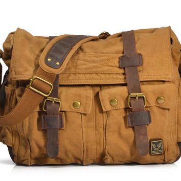 Men Vintage Canvas Italian Military Crazy Horse Leather Shoulder Messager Bag Casual Large Size For 15inch Laptop