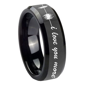 10MM Sound Wave i love you more more Glossy Black Beveled Edges Tungsten Carbide Men's Ring