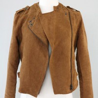 Jacket - Urban Swagger Suede Moto Jacket in Camel