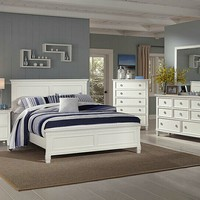 5 pc Tamarack collection white finish wood headboard queen bedroom set