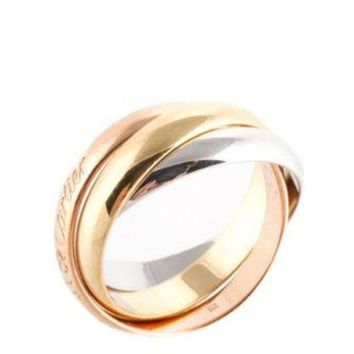 Gotopfashion Must De Cartier 18 Kt Rose Yellow Gold Trinity Band Ring Size 5 AC12144 MHL