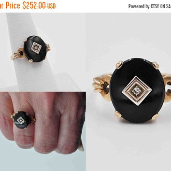 ON SALE Vintage Art Deco 10K Gold, Black Onyx & Diamond Ring, Yellow Gold, Prong Set, Open Back, Size 7 1/2, Hallmarked, Deco Delight! #b806