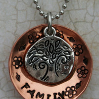 Hand Stamped Copper Family Tree Necklace