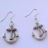 Women's Tibetan silver anchor dangle earrings- hook dangle earrings- sailor girl- nautical accessories-Christmas gift ideas-Stocking fillers