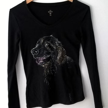 Golden retriever tshirt, Custom dog tee, Hand painted golden retriver art, OOAK
