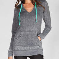 Miss Chievous Womens Hooded Tunic Charcoal  In Sizes