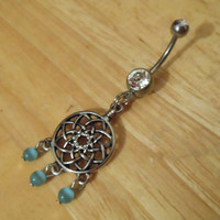 Belly button ring - Dream Catcher with Beads belly button ring