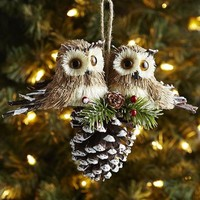 Natural Owls on Pinecone Tree Decor