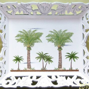 Ornate palm tree wood serving tray  touch by MoanasUniqueDesigns