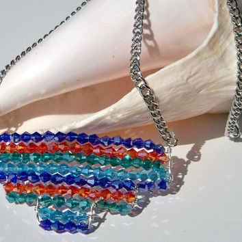 Multicolored Crystal Necklace Colorful Necklace Multicolored Crystal Pendant Southwest Necklace Blue Green & Orange Necklace Aztec Necklace
