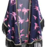 Blue Floral Embroidery Fringed Kimono Coat