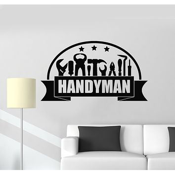 Vinyl Wall Decal Construction Handyman Service Tools Repair House Stickers Mural (g1001)