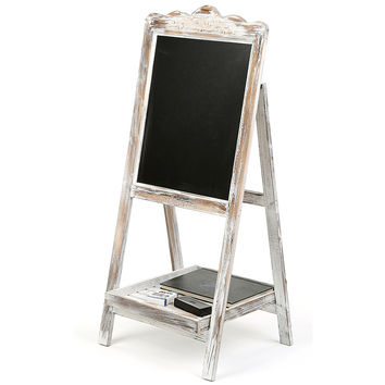 Vintage Style White Washed Brown Wood Chalkboard Easel  Freestanding Guest Message Sign Board