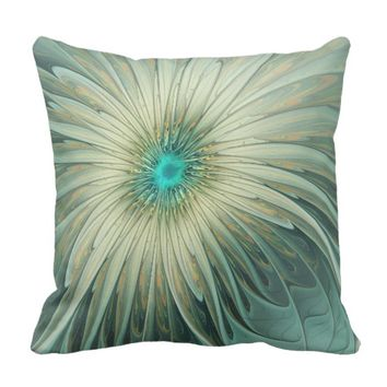 Modern Abstract Fantasy Flower Turquoise Wheat Throw Pillow