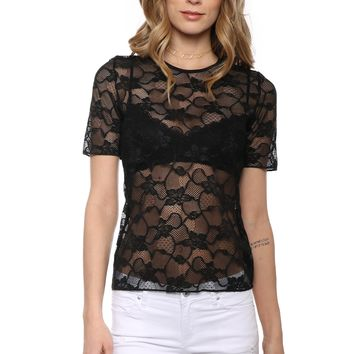Commando Chic Mesh Floral Lace Tee