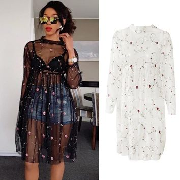 Black Sheer Mesh Dress Women Floral Embroidery Long Sleeve Knee Length A Line Dress Sexy See Through Dress Clubwear