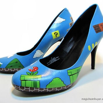 Custom HandPainted Super Mario Heels by magicbeanbuyer on Etsy