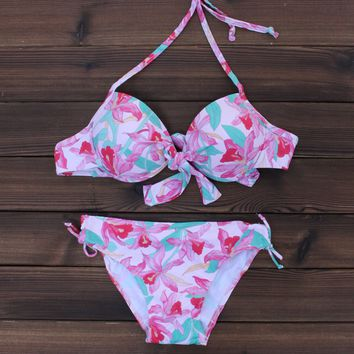 Unique Comfy Flower Bikini Swimsuits Push Up