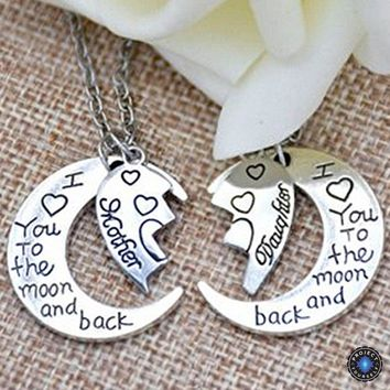 "Two-Part Heart ""I Love You To The Moon And Back"" Crescent Moon Mother-Daughter Pendant Necklace Set"