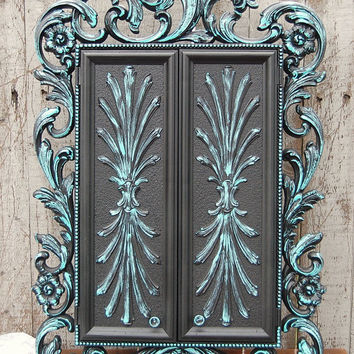 Shabby Chic Jewelry Box, Armoire, Tiffany Blue, Wall Mount, Sarah Coventry, Syroco, Hollywood Regency, Upcycled, Black, Large Jewelry Box