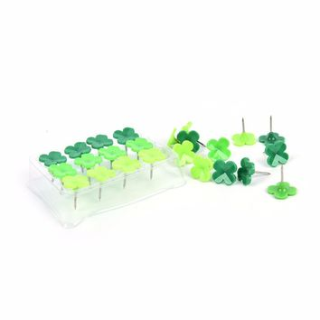 24Pcs Hot Selling  Drawing Cork Board Office Supplies Green Clover Shape Assorted Push Pins
