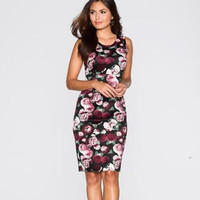 Floral Print Bodycon Party Homecoming Dress