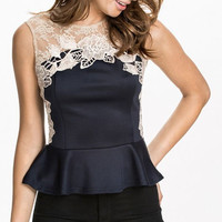 Lace Sleeve Fishtail Blouse
