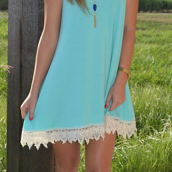 Aqua Sleeveless T-Shirt Dress