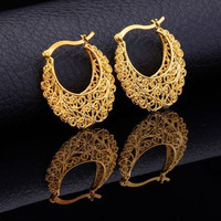 Vintage Tribal Gold Plated Hoop Earrings For Women