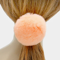Large Rabbit Fur Pom Pom Ponytail Hair Band Elastic - Pastel Peach