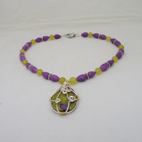 Wire Wrapped Jasper and Jade Necklace, Purple and Yelllow Necklace