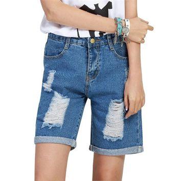 2018 Summer High Waist Denim Shorts with Patch Women Slim Button Jeans Shorts Casual Plus Size Female Korean Style Hole Shorts