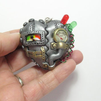 Industrial steampunk heart locket cogs gears jewellery necklace pendant
