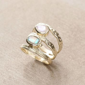 Camille Labradorite and Moonstone Ring