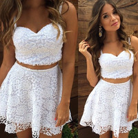 White Lace Strap Crop Tank Top With Skirt