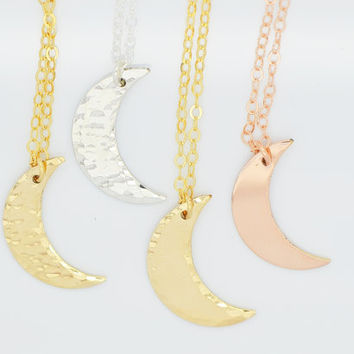 Crescent Moon Necklace, Gold Moon Necklace, Hammered Necklace, 14k Gold Fill, Rose Gold Fill, Sterling Silver Minimal Necklace