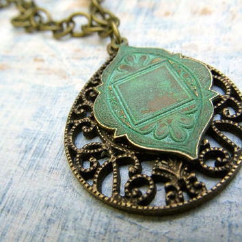 Long Ethnic Necklace Moroccan pendant necklace Bohemian jewelry Patina jewelry