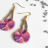 cute pink and purple macrame earrings on golden chain, round dangle earrings, woven girl style fashion jewelry
