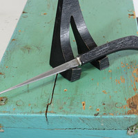 Vintage Letter Opener . Serrated Edge on Both Edges . IDL Stainless Steel . Made in USA . Black Faux Wood Plastic Handle