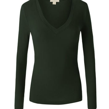 LE3NO Womens Basic V Neck Long Sleeve Shirt (CLEARANCE)