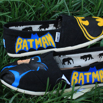 Batman Original Custom Acrylic Painting for Toms/Canvas Shoes